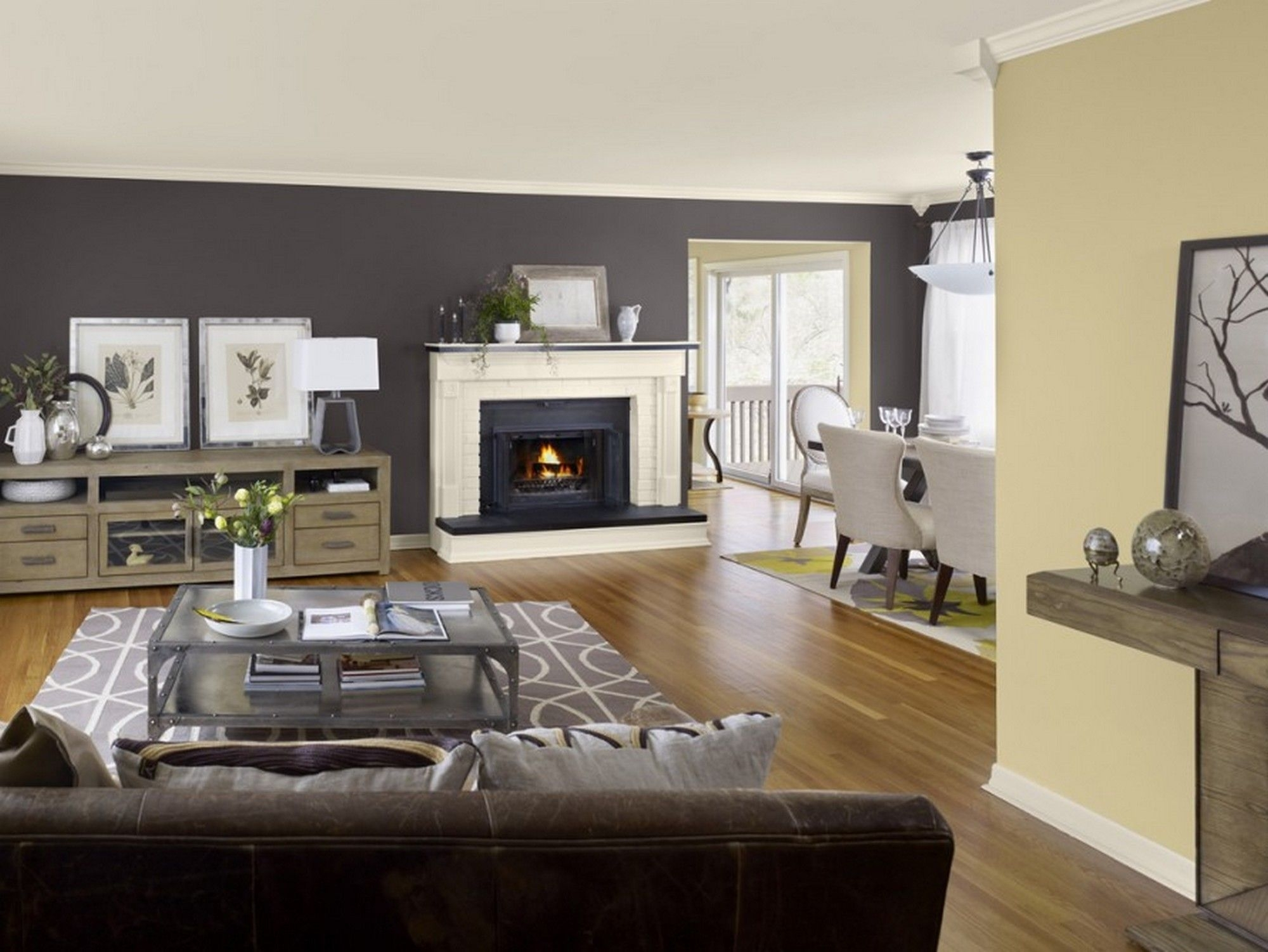 Great Room Paint Colors Light Color With Dark Brown Accent Walls Throughout Best And Newest Wall Colors And Accents (Gallery 9 of 15)