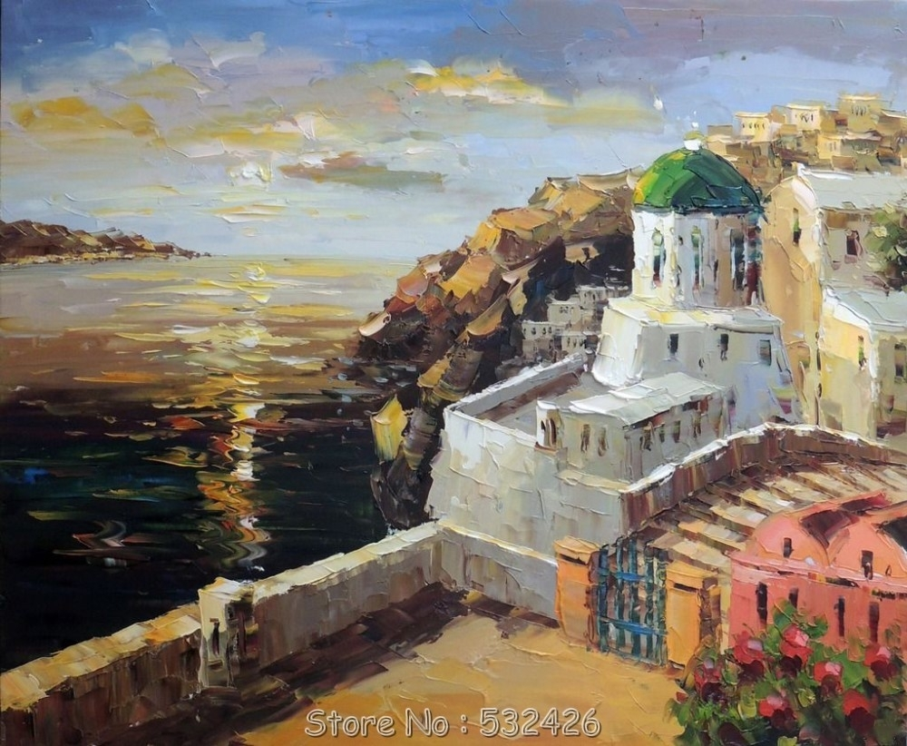 Greek Isle Ocean Sea Cliff Beach Church 24X36 Handpainted Oil In Best And Newest Greece Canvas Wall Art (View 11 of 15)