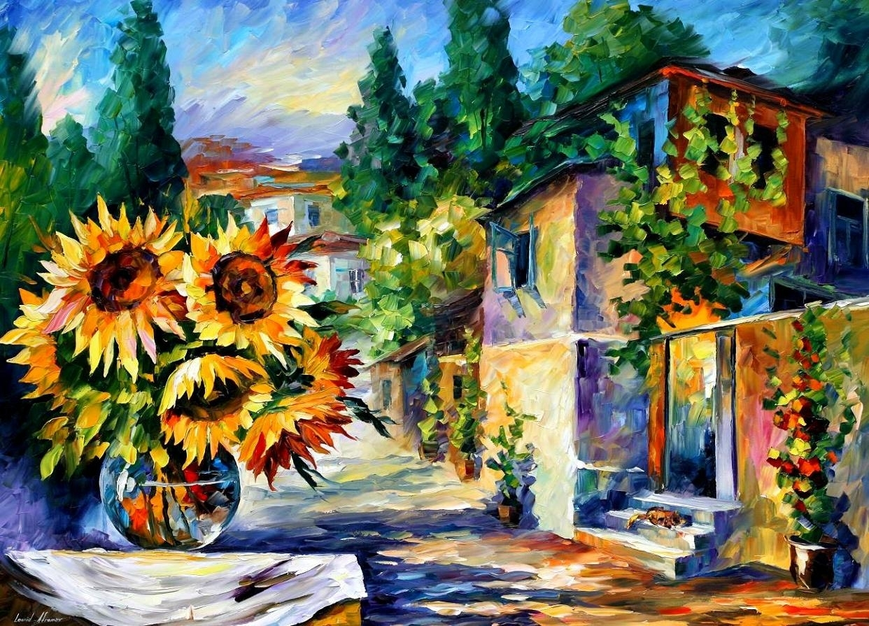 Greek Noon — Palette Knife Oil Painting On Canvasleonid In Current Greece Canvas Wall Art (View 8 of 15)