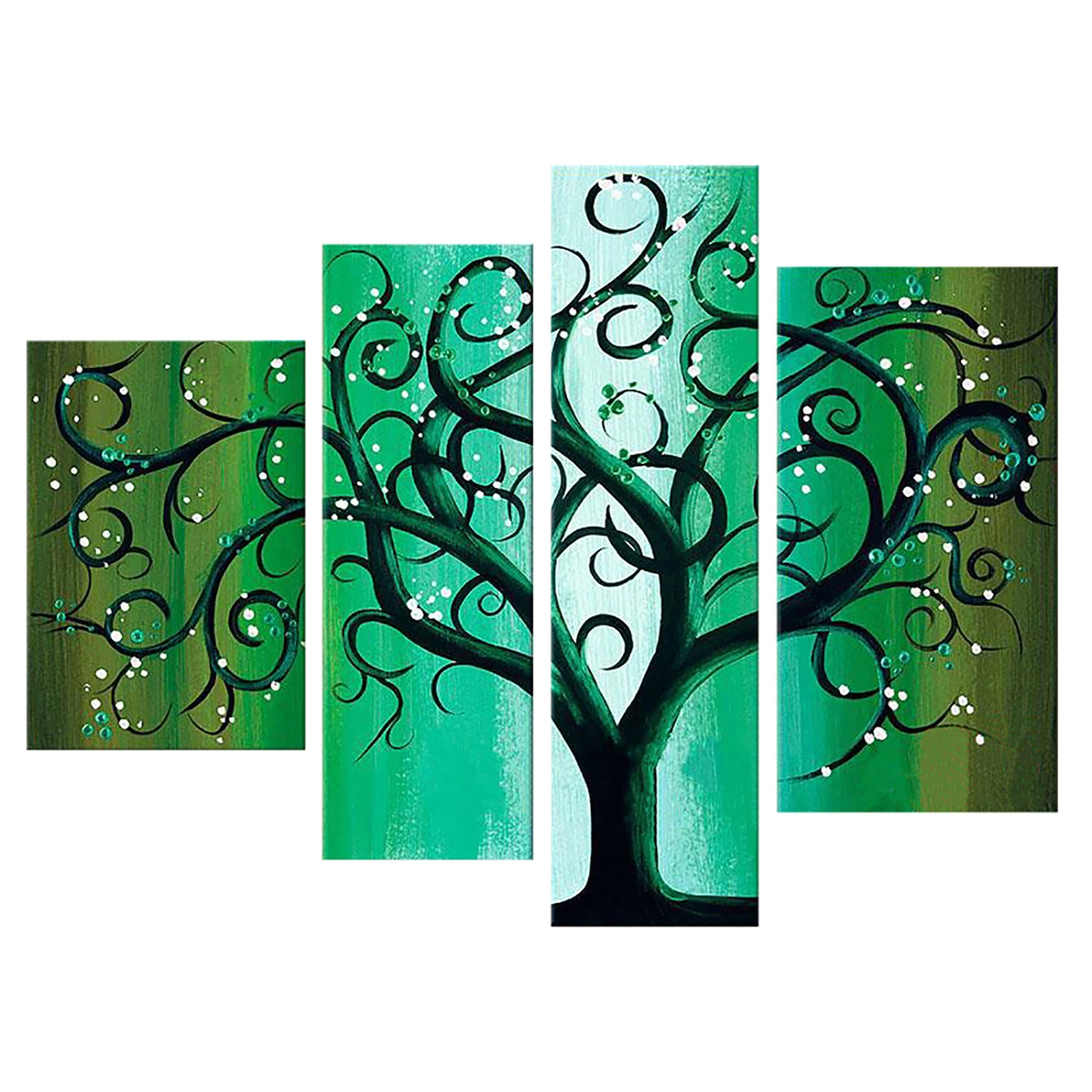 Green Contemporary Tree Landscape Canvas Wall Art Oil Painting With Newest Green Wall Accents (View 12 of 15)