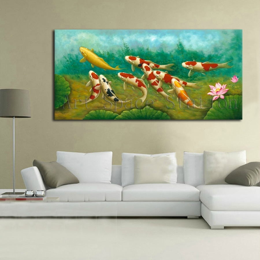Green Modern Wall Art Chinese Painting Koi Fish Lotus Canvas In Best And Newest Koi Canvas Wall Art (Gallery 10 of 15)