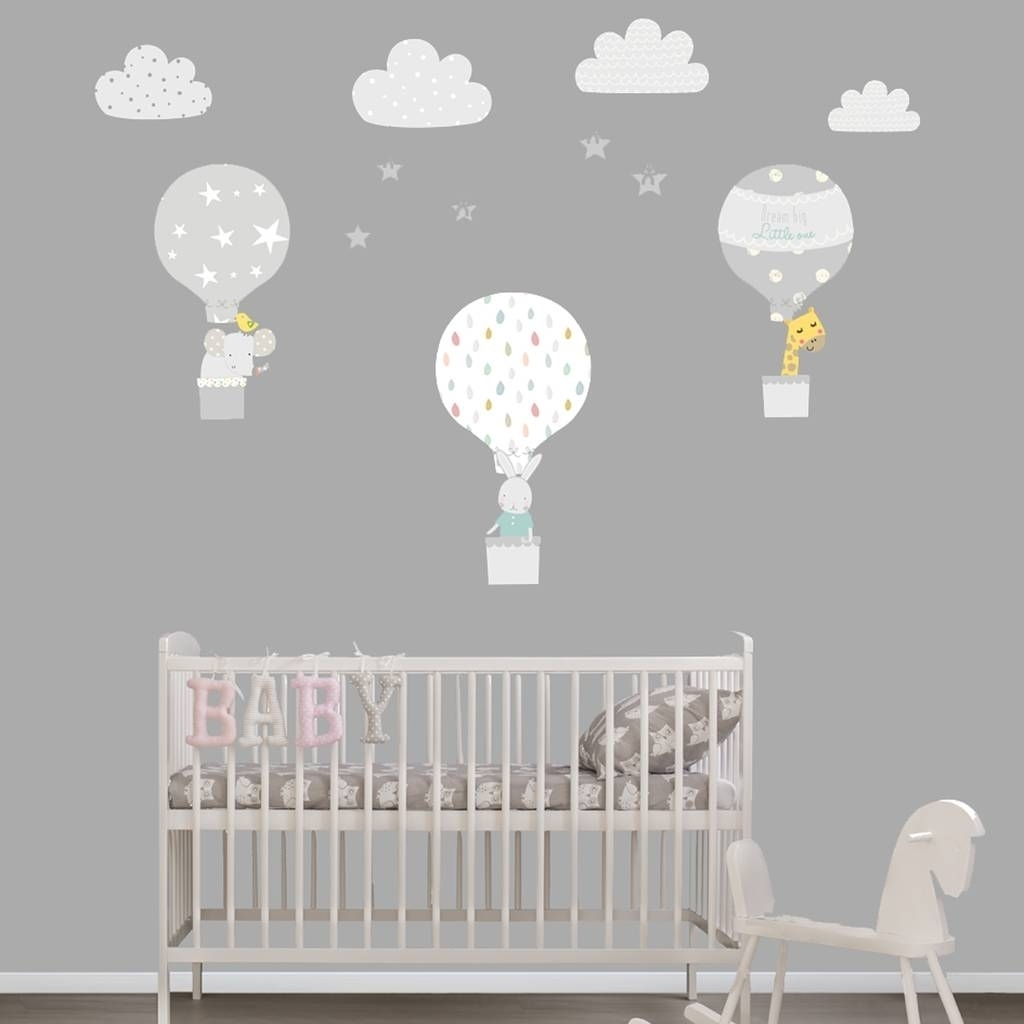 Grey Hot Air Balloon Fabric Wall Stickers Littleprints Inside Pertaining To Latest Fabric Wall Art For Nursery (View 11 of 15)