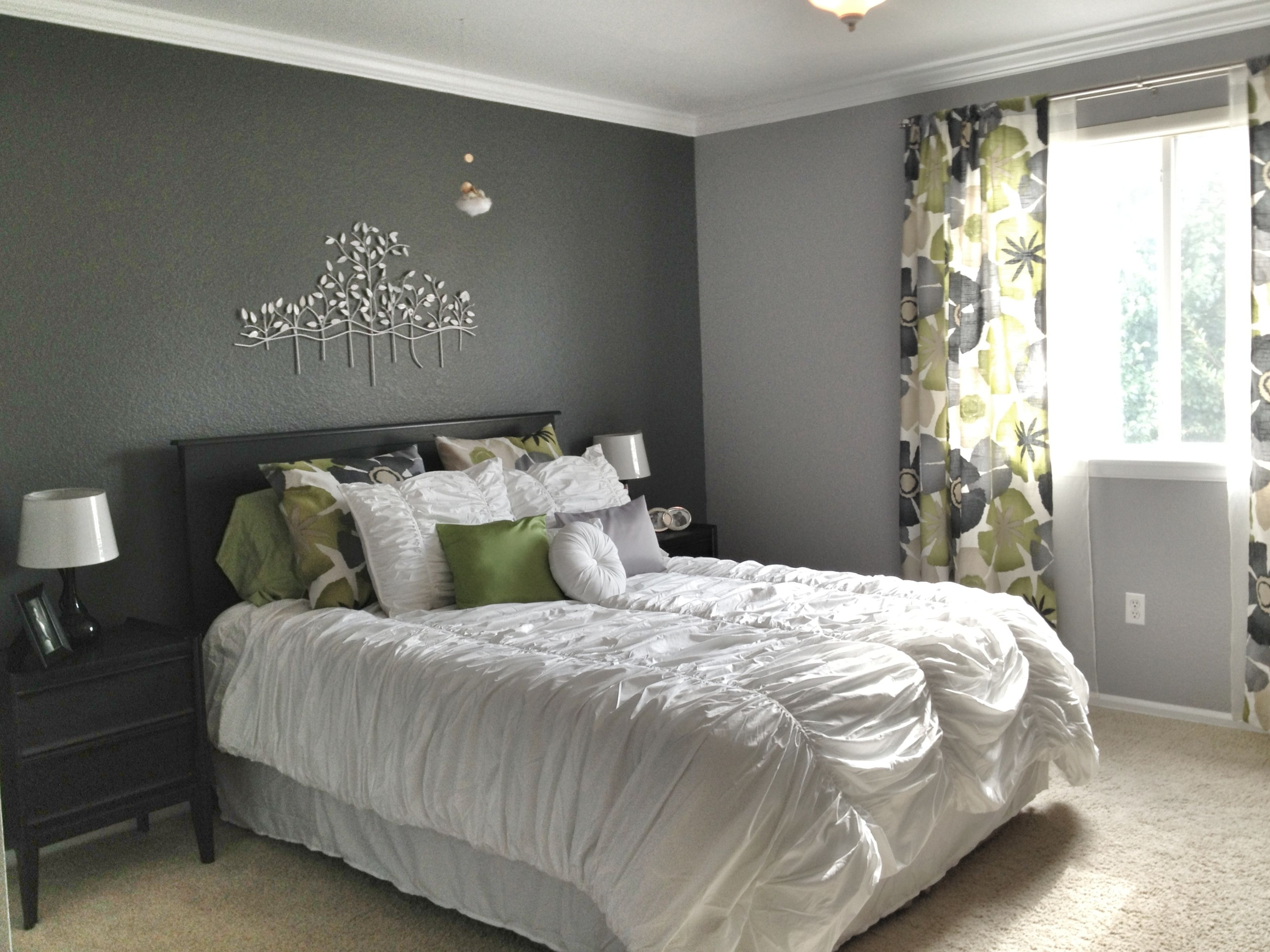 Grey Master Bedroom – Dark Accent Wall, Fun Patterned Curtains In Most Current Gray Wall Accents (View 4 of 15)