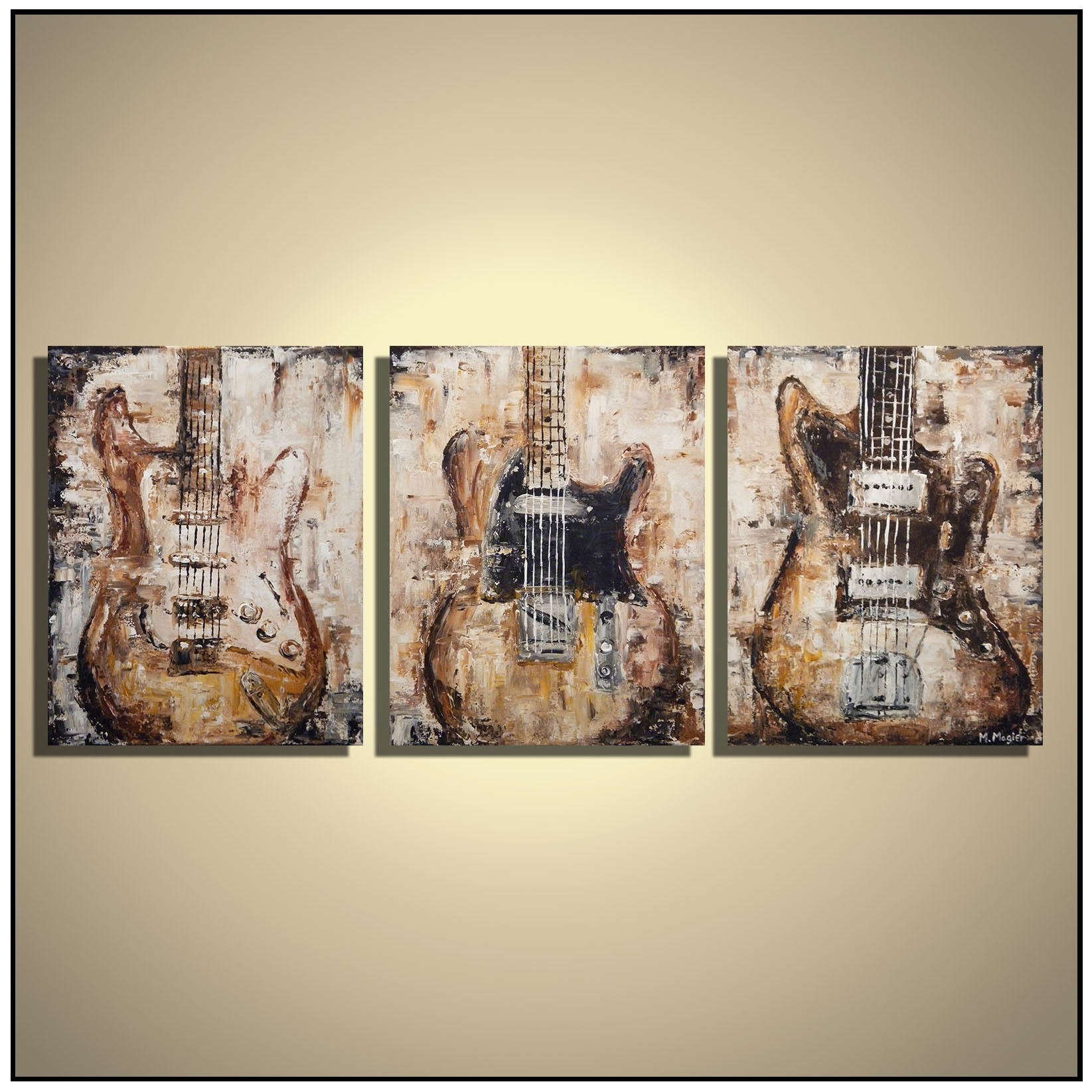 Guitar Painting Music Wall Art Rustic Decor Brown Guitar Original With Most Recent Rustic Canvas Wall Art (View 7 of 15)