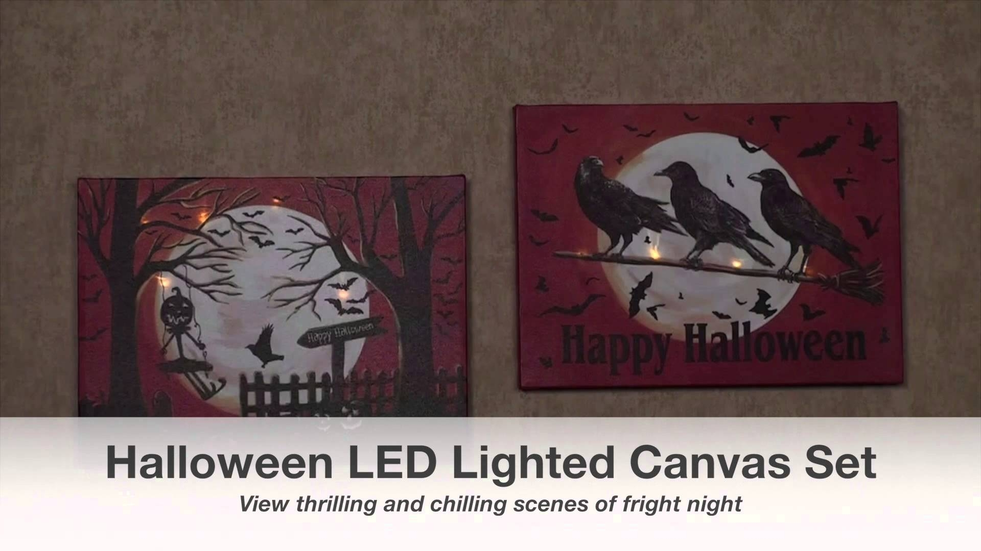 Halloween Night Led Lighted Canvas Wall Art Set – Youtube Intended For Most Current Halloween Led Canvas Wall Art (View 5 of 15)