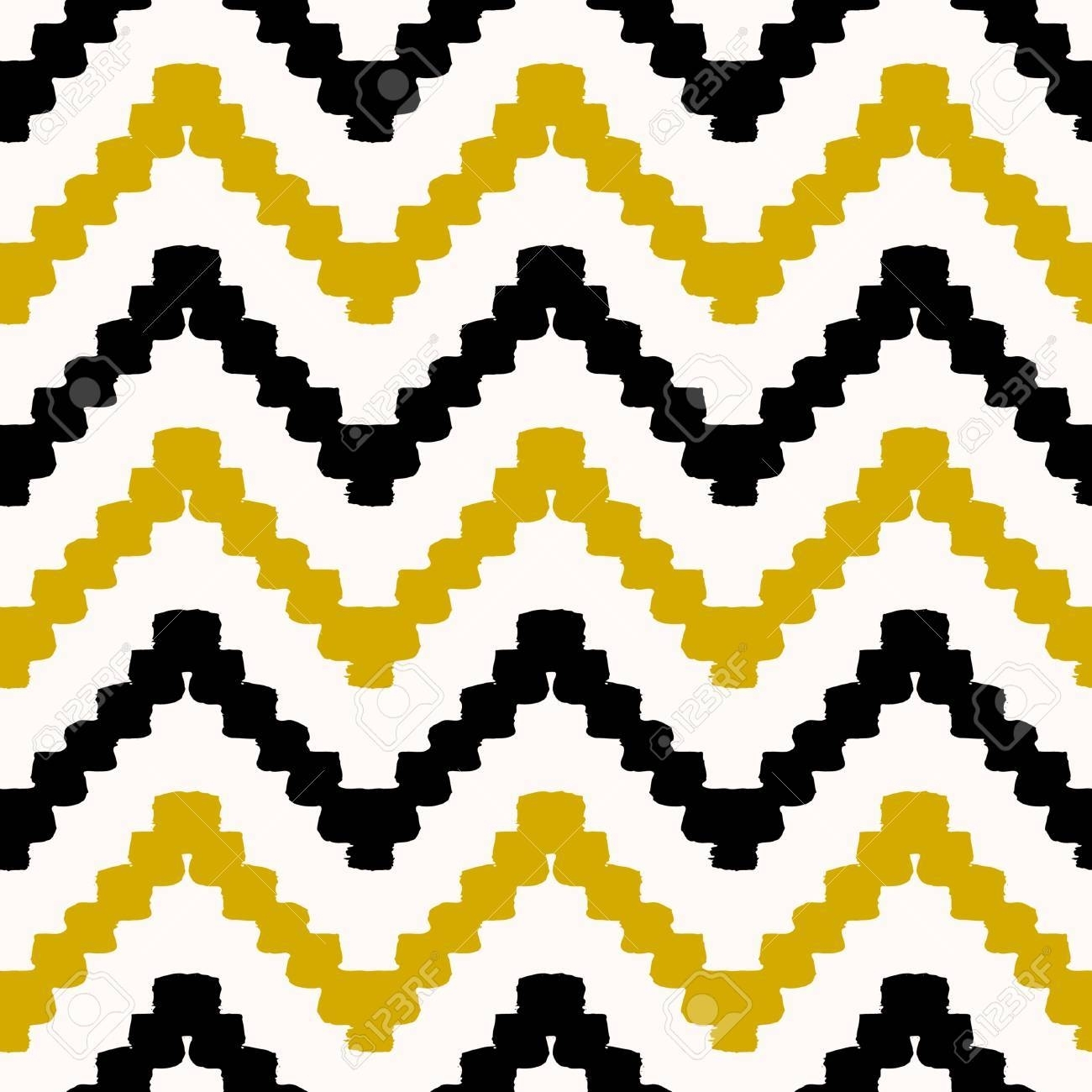 Hand Drawn Seamless Chevron Pattern In Black, Yellow And Cream Regarding Latest Modern Textile Wall Art (View 9 of 15)
