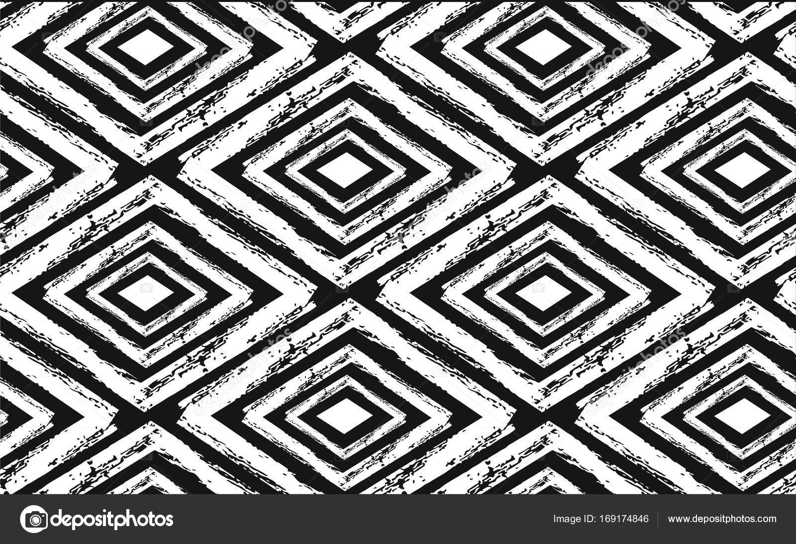 Hand Drawn Seamless Tribal Pattern In Black And Cream (View 15 of 15)