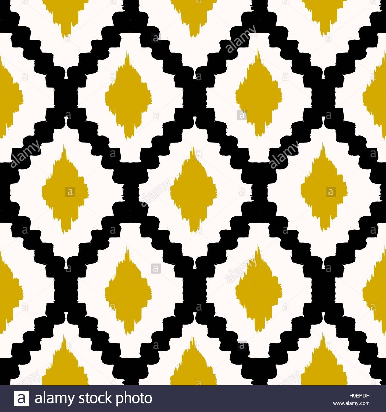 Hand Drawn Seamless Tribal Pattern In Black, Yellow And Cream Within Most Up To Date Modern Textile Wall Art (View 7 of 15)