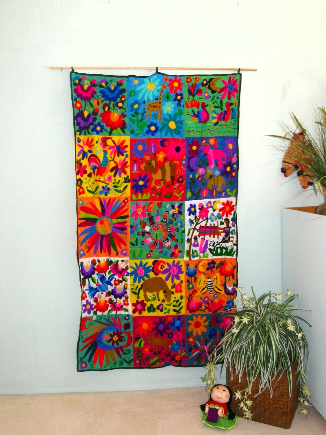 "Hand Embroidered Mexican Wall Hanging – 40"" X 70"" – Mexican Folk Inside Latest Aztec Fabric Wall Art (View 10 of 15)"
