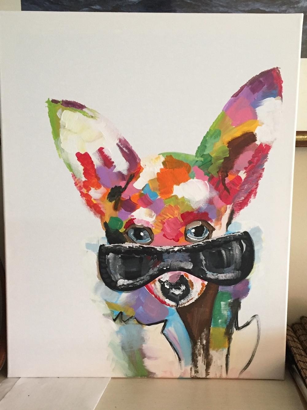 Hand Painted Chihuahua On Canvas. Pinterest Version. Original Is Within Most Recent Dogs Canvas Wall Art (Gallery 13 of 15)