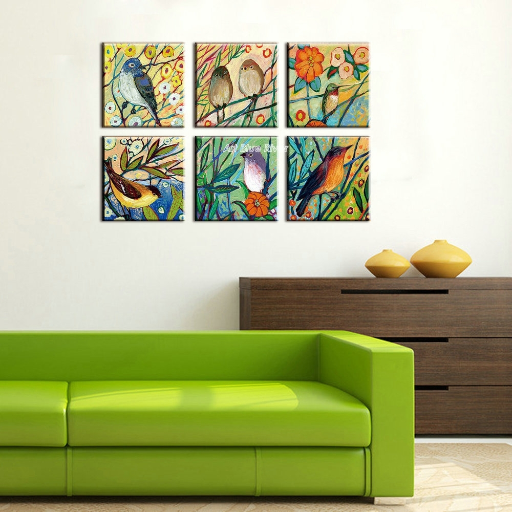 Hand Painted High Quality Muti Panel Canvas Wall Art Abstract Regarding Most Recently Released Birds Canvas Wall Art (View 7 of 15)