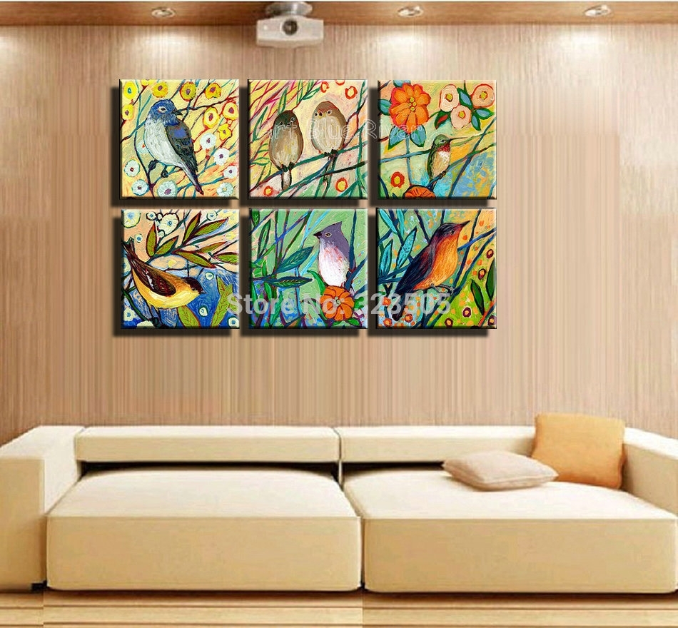 Hand Painted High Quality Muti Panel Canvas Wall Art Abstract With 2018 Birds Canvas Wall Art (View 2 of 15)