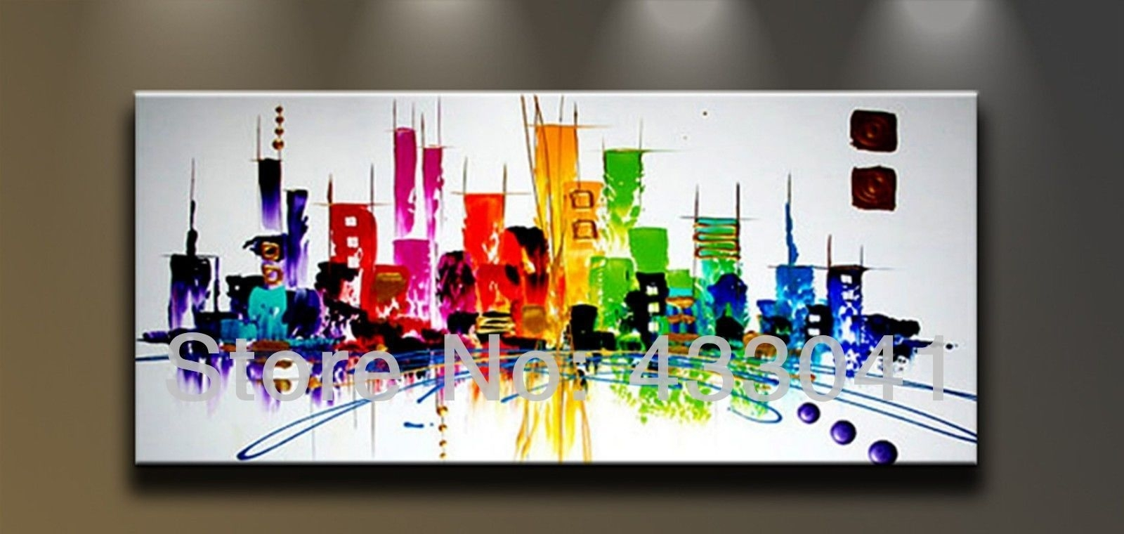 Hand Painted Large City Building Landscape Oil Painting Abstract For Most Popular Hand Painted Canvas Wall Art (View 6 of 15)