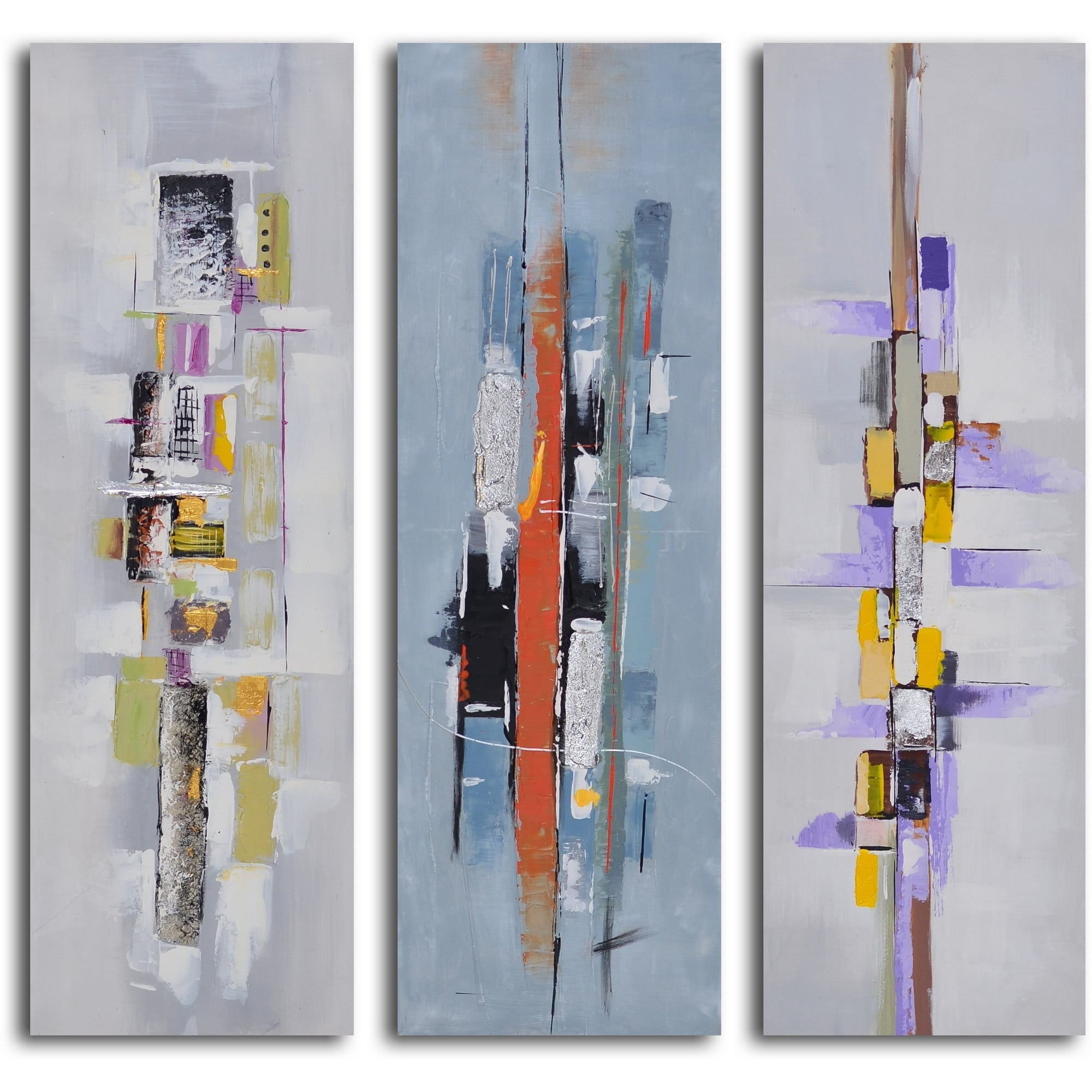 "Hand Painted ""urban Abstract Triptych"" Canvas Wall Art – Free Regarding Most Recent Joval Canvas Wall Art (View 4 of 15)"