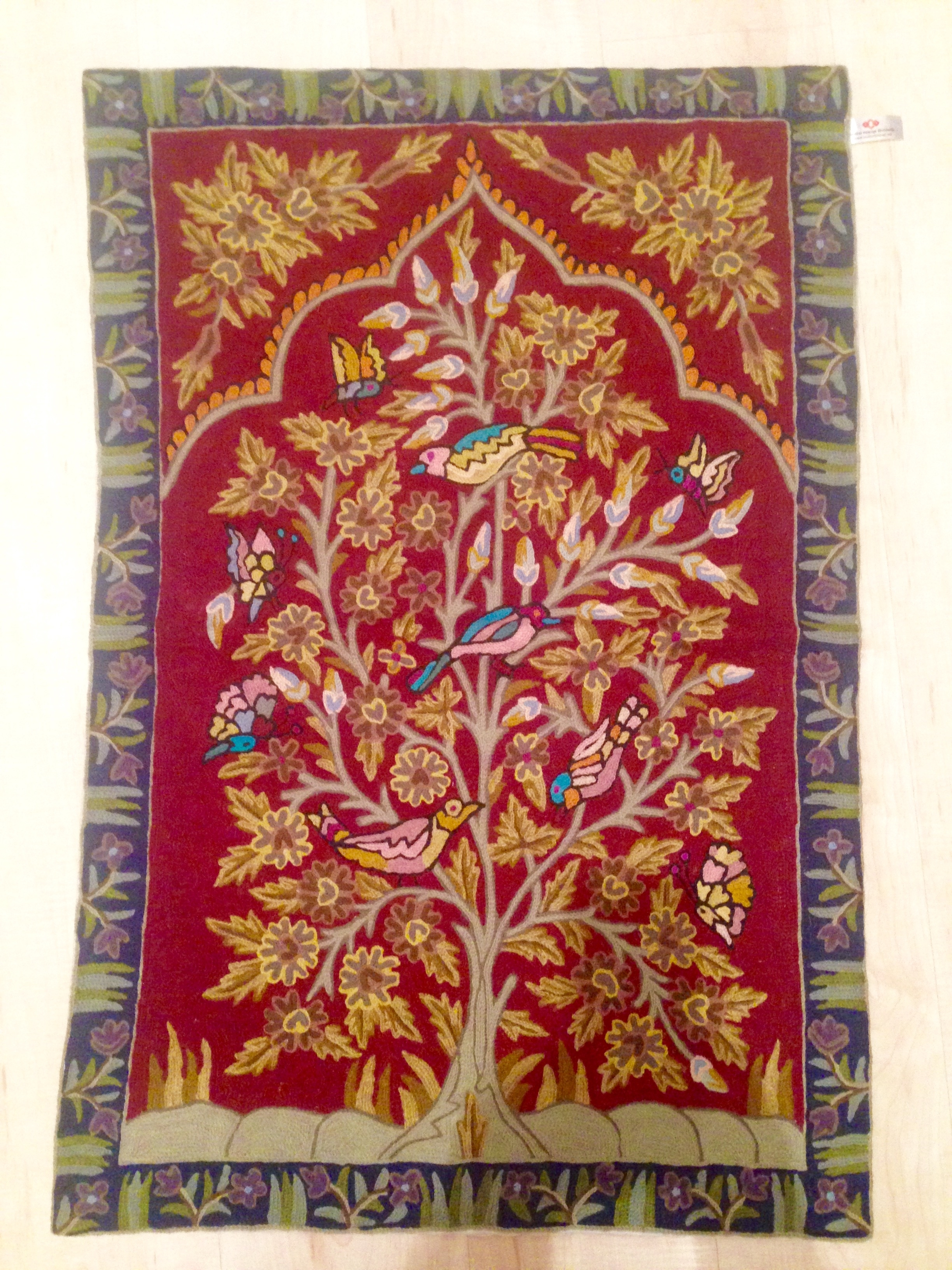 Handmade Kashmiri Wool Embroidery Wall Hanging Tapestry | Indian With Current Handmade Textile Wall Art (View 4 of 15)