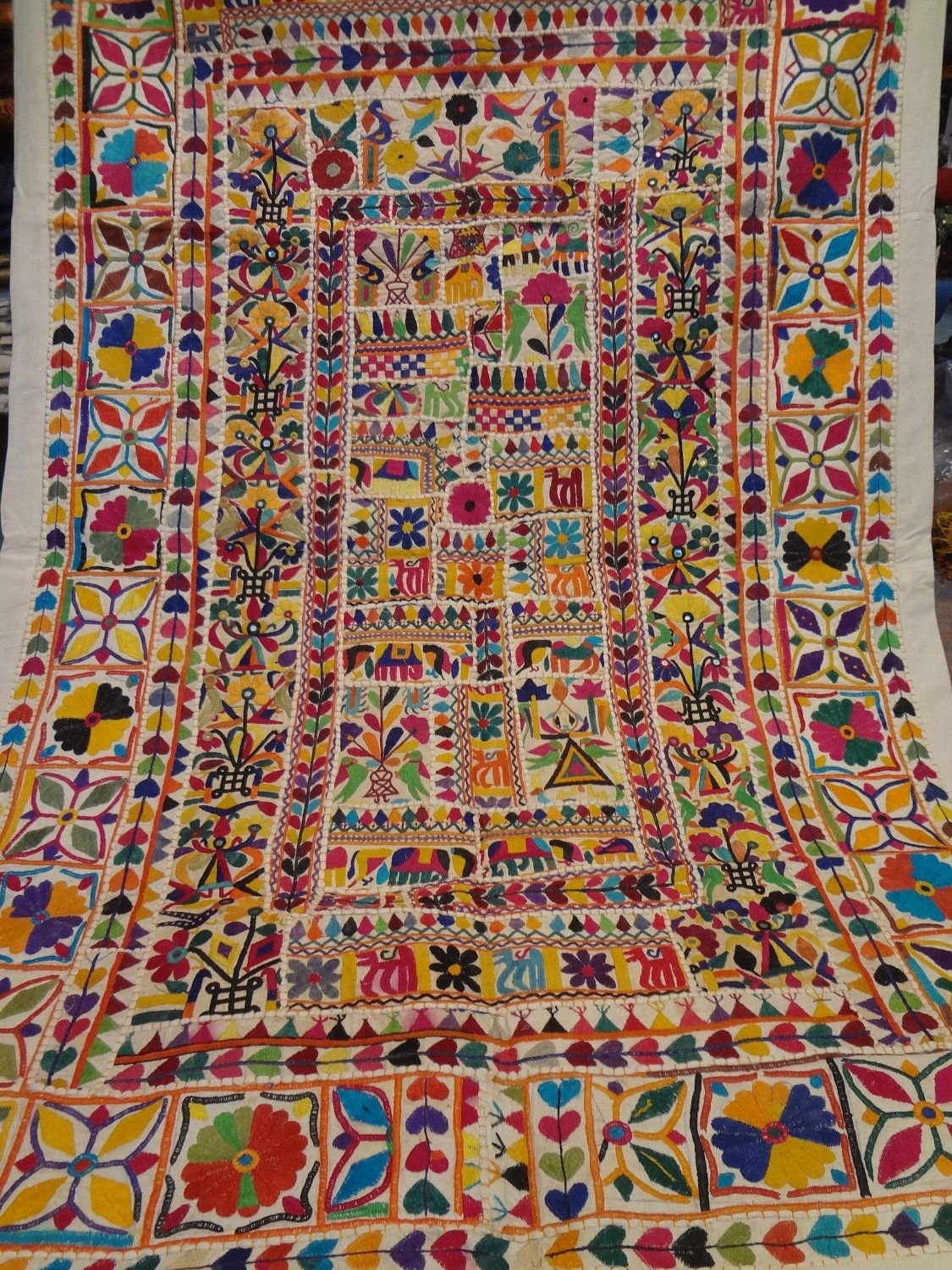 Handmade Old Patchwork Wall Hanging/home Tapestry Made From Old Pertaining To Recent Indian Fabric Art Wall Hangings (View 9 of 15)