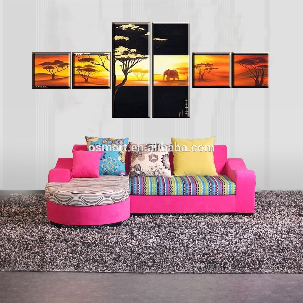 Handmade Picture On Canvas Modern Paintings Fabric Painting Pertaining To Most Recently Released Fabric Painting Wall Art (Gallery 3 of 15)