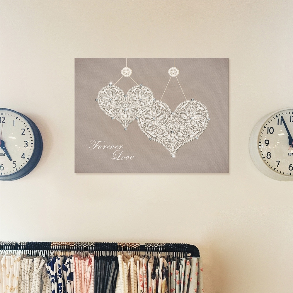 Haochu Crystal Canvas Painting Heart Sparkling Jewel Glitter Pertaining To Recent Glitter Canvas Wall Art (View 7 of 15)