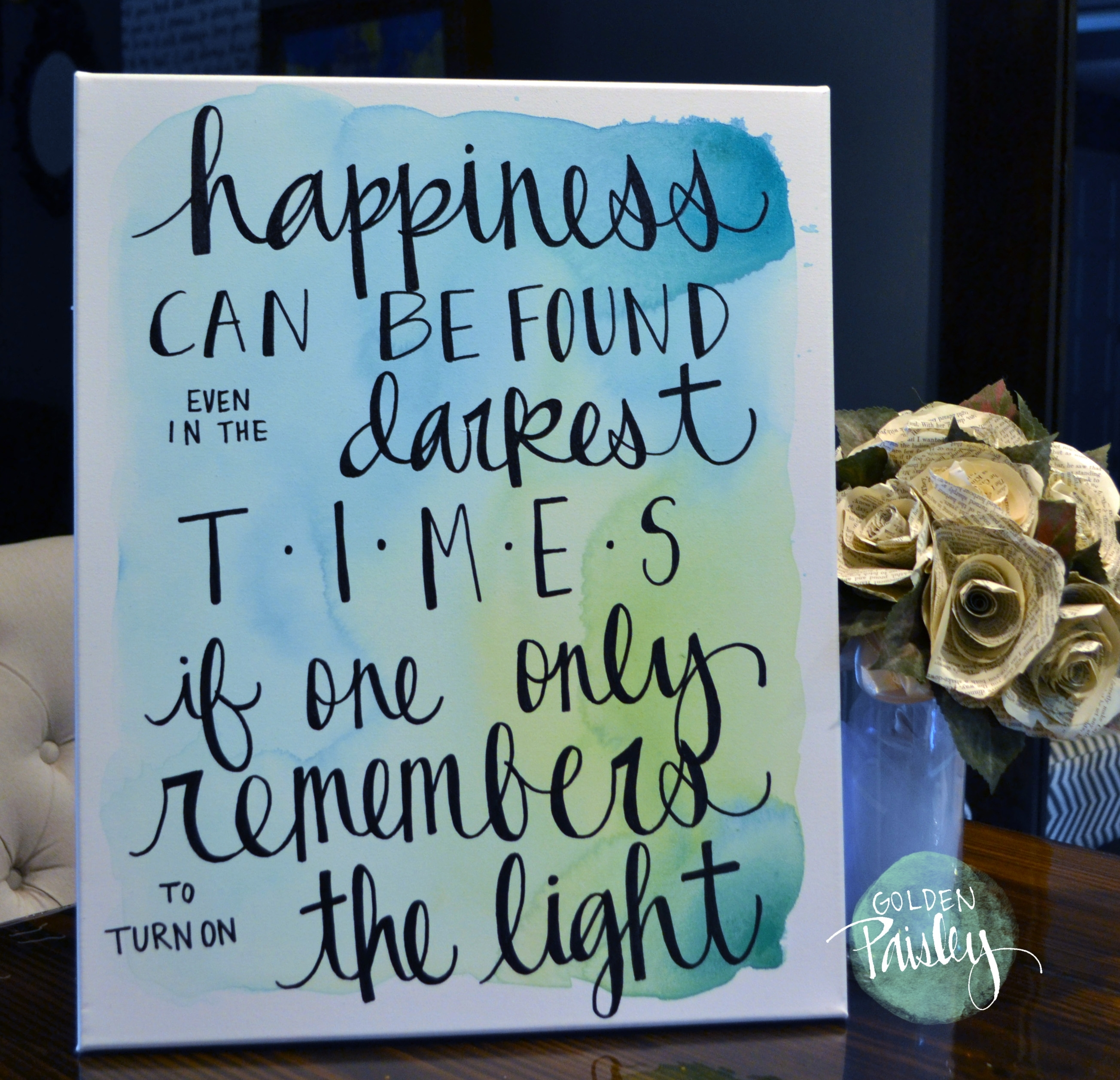 "Happiness Watercolor Quote Wall Art ""The Light"" For Best And Newest Inspirational Quotes Canvas Wall Art (Gallery 4 of 15)"