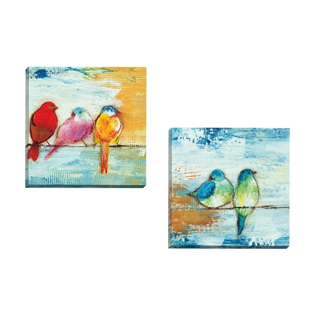 Havenside Home 2 Piece Portfolio 'song Birds Ii' Framed Canvas Intended For 2017 Birds Canvas Wall Art (View 15 of 15)
