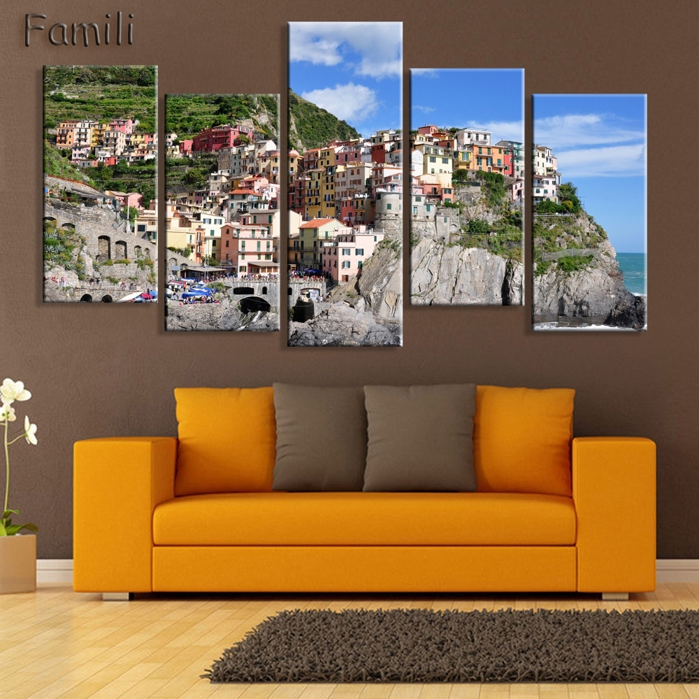Hd 5pcs Wall Art Canvas Fabric Poster Italy Town Landscape For Most Recently Released Canvas Wall Art Of Italy (View 15 of 15)