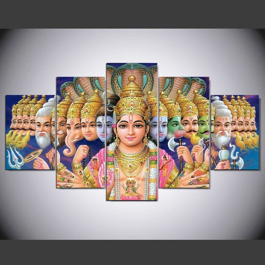 Hd Print 5 Pcs Canvas Wall Art Mythology Shiva Vishnu Painting Pertaining To Most Recently Released India Canvas Wall Art (View 8 of 15)