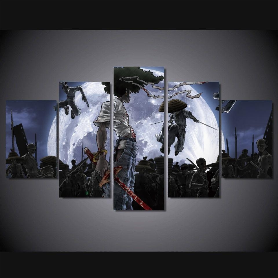 Hd Print 5 Pieces Afro Samurai Poster Canvas Painting For Children For Most Current Anime Canvas Wall Art (View 2 of 15)