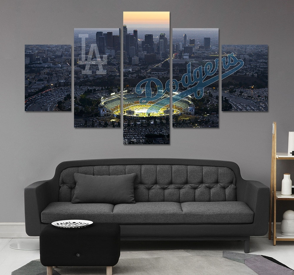 Hd Print Baseball Los Angeles Dodgers Fans Painting On Canvas Wall With Current Los Angeles Canvas Wall Art (View 8 of 15)