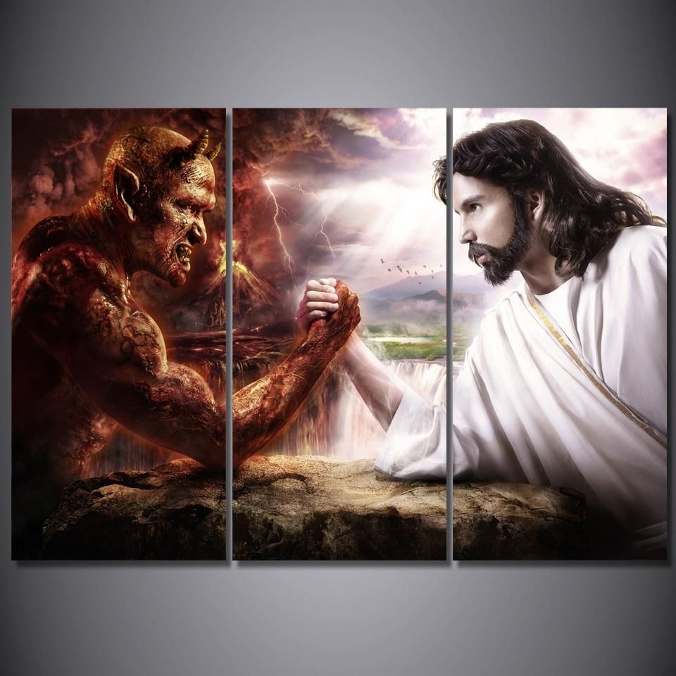 Hd Printed 3 Piece Jesus Christ Arm Wrestling With Devil Painting Intended For Most Recently Released Jesus Canvas Wall Art (Gallery 11 of 15)