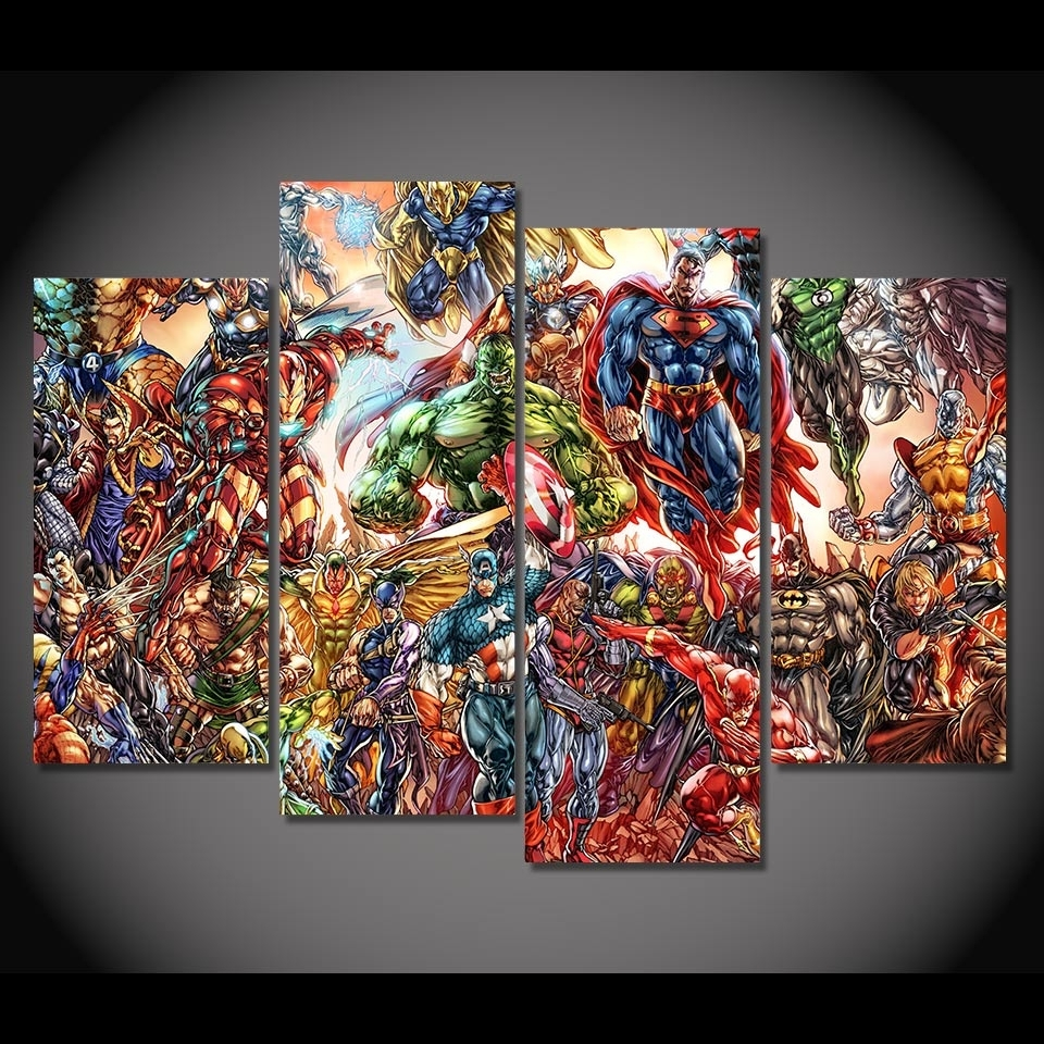 Hd Printed 4 Canvas Art Painting Comics Super Man Iron Man Poster Within Most Up To Date Marvel Canvas Wall Art (View 2 of 15)