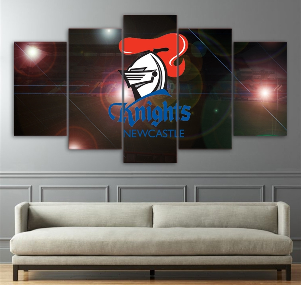 Hd Printed 5 Piece Home Decor Wall Art Logo Painting Nrl Knights Pertaining To 2018 Newcastle Canvas Wall Art (View 5 of 15)