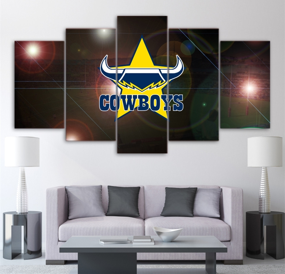 Hd Printed 5 Piece Home Decor Wall Art Painting Nrl Cowboys Pertaining To Most Recently Released Queensland Canvas Wall Art (Gallery 1 of 15)