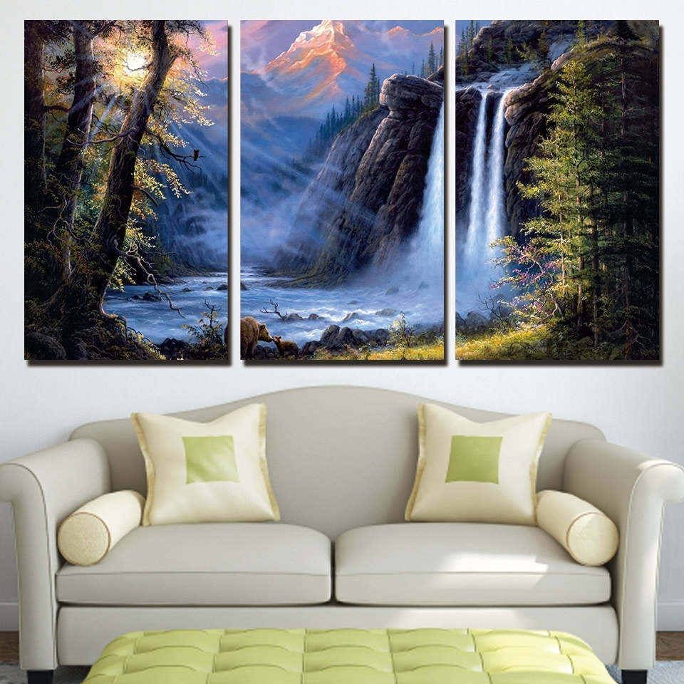 Hd Prints Wall Art Poster Frame Bears Pictures 3 Pieces Sunshine Throughout 2017 Mountains Canvas Wall Art (View 10 of 15)