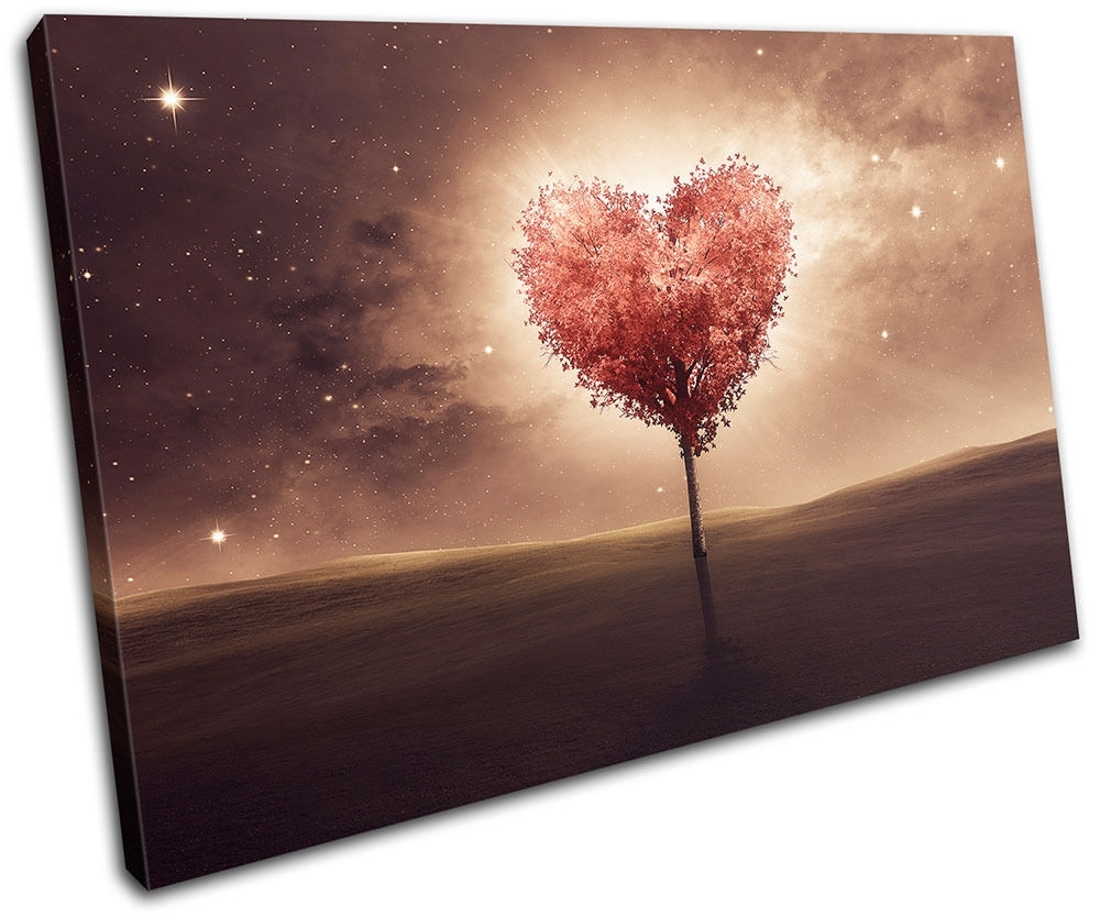 Heart Bedroom Romantic Night Love Single Canvas Wall Art Picture Inside Most Recent Hearts Canvas Wall Art (View 5 of 15)