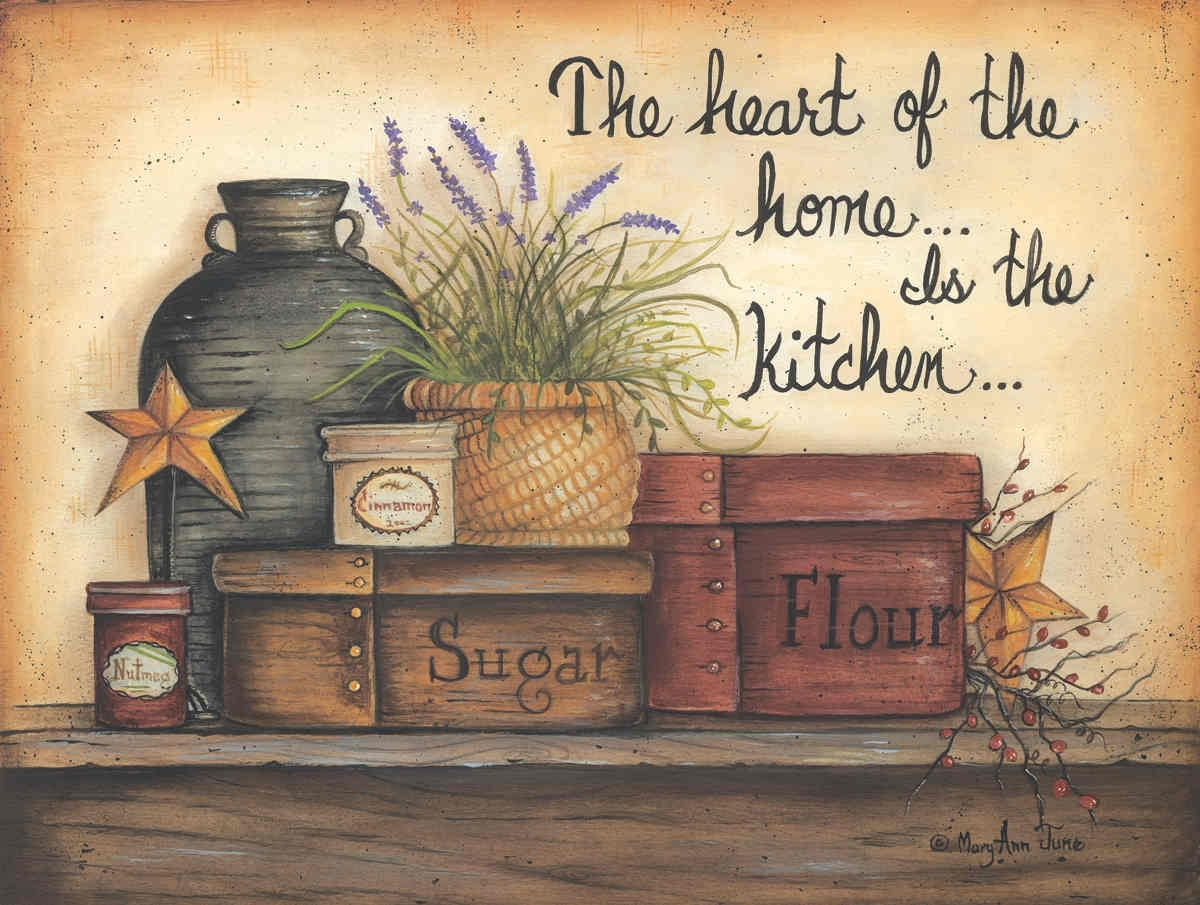 Heart Of The Home Is The Kitchenmary Ann November – Art Print Intended For Current Framed Country Art Prints (View 9 of 15)