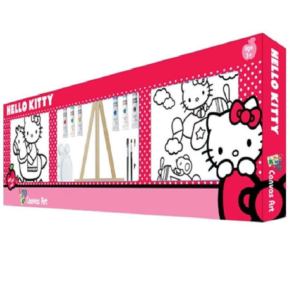 Hello Kitty Twin Paint Your Own Colour Canvas Wall Art Set 25x25 Pertaining To Current Hello Kitty Canvas Wall Art (View 7 of 15)