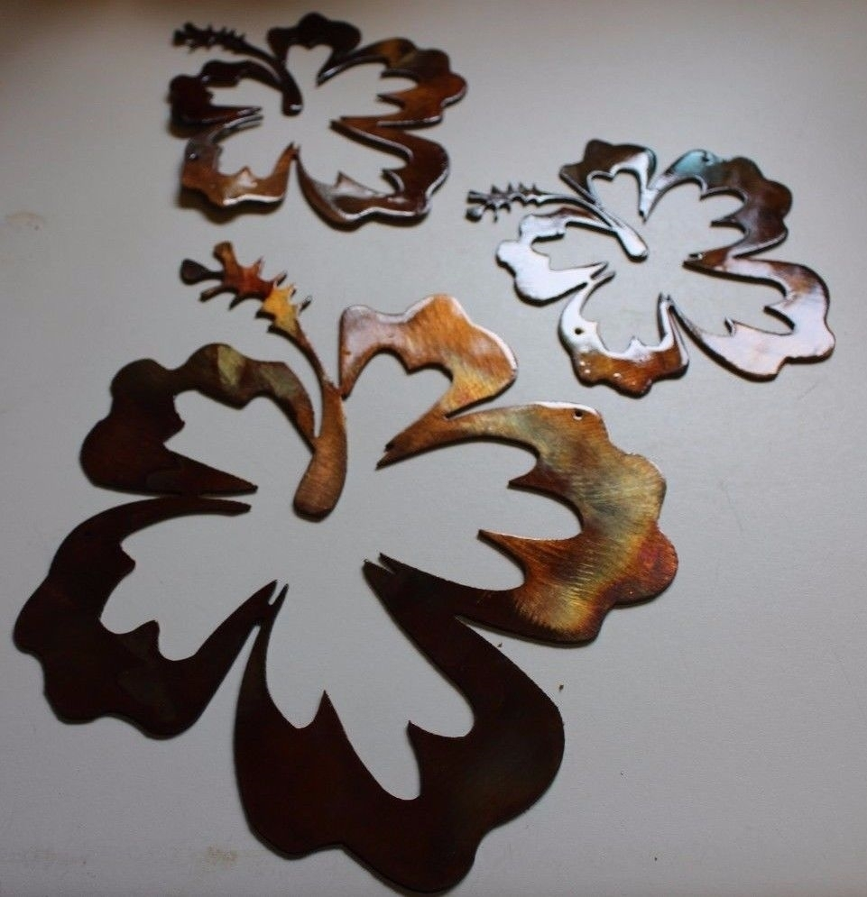 Hibiscus Flower Tropical 3 Piece Set/trio Intended For Most Recent Wall Art Accents (View 8 of 15)