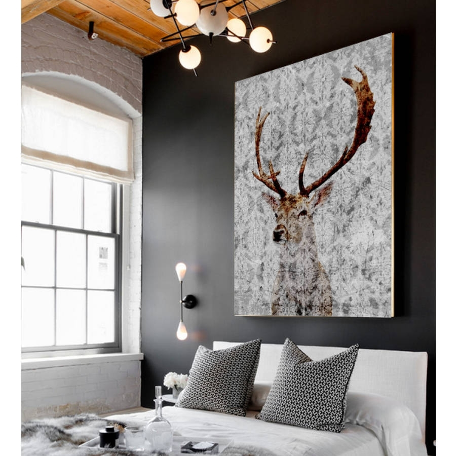 Highlands Stag Canvas Artpalm Valley | Notonthehighstreet With Regard To Most Popular Deer Canvas Wall Art (Gallery 2 of 15)
