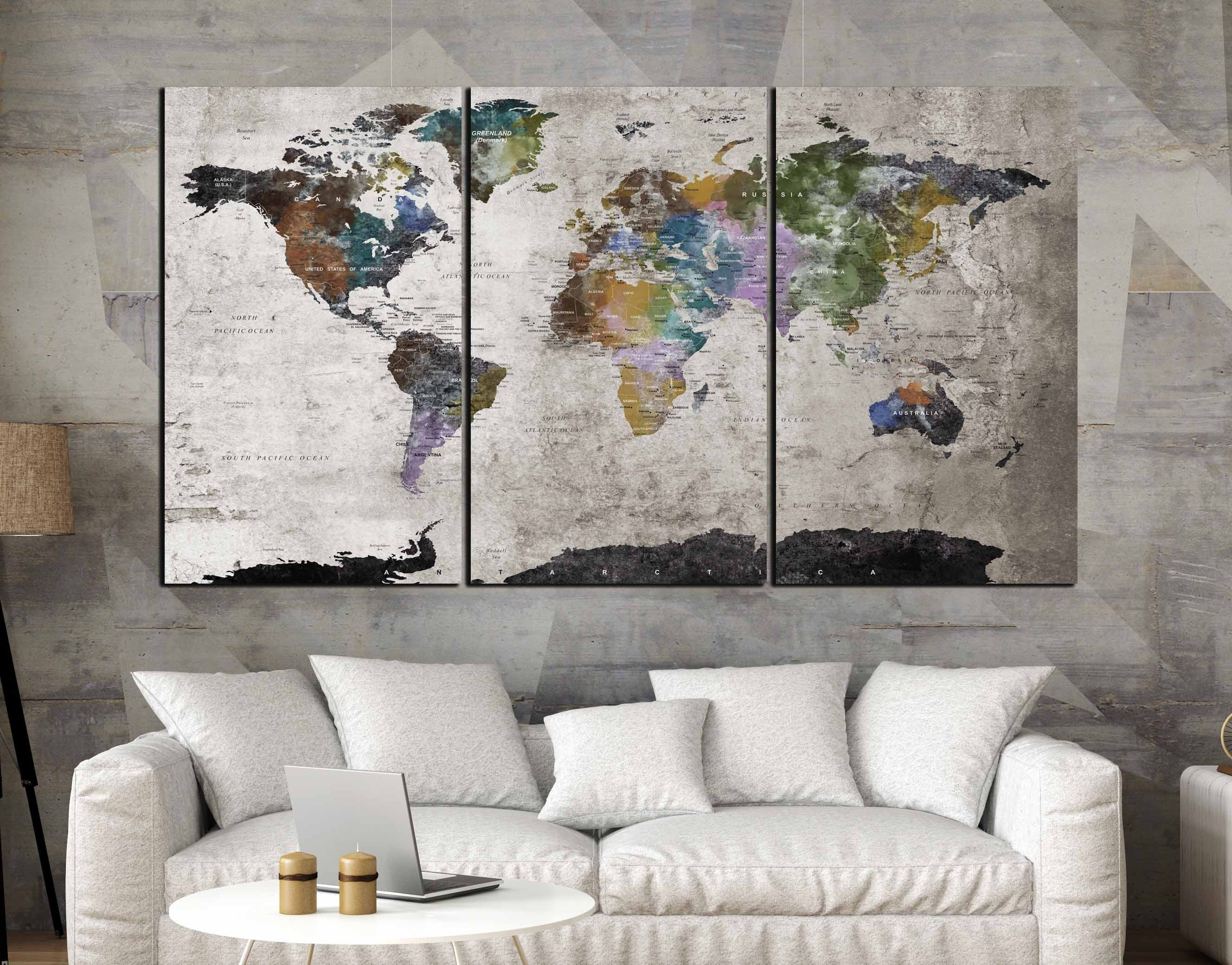 Highly Detailed World Map Wall Art,large World Map, World Map With Regard To Best And Newest Malaysia Canvas Wall Art (View 2 of 15)