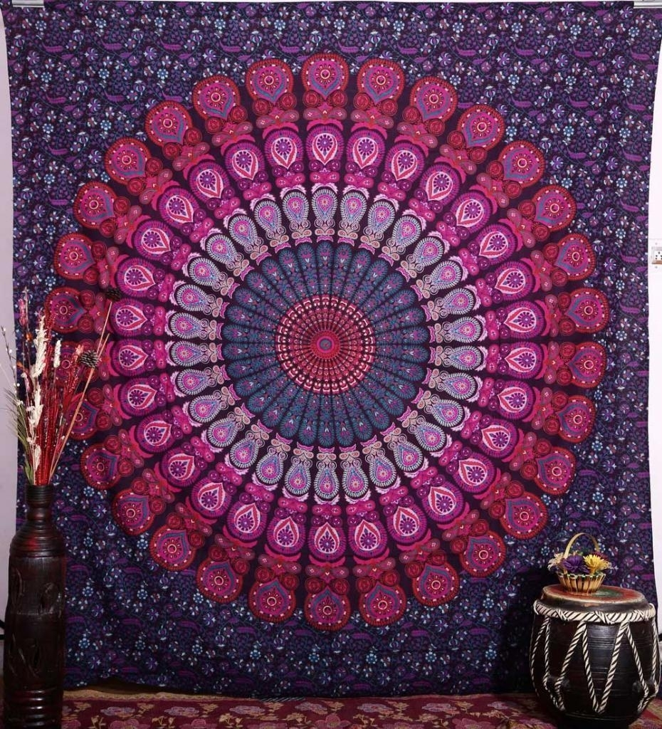 Hippie Mandala Tapestry 100% Cotton Hand Block Print Indian Wall Intended For Newest Indian Fabric Wall Art (Gallery 9 of 15)