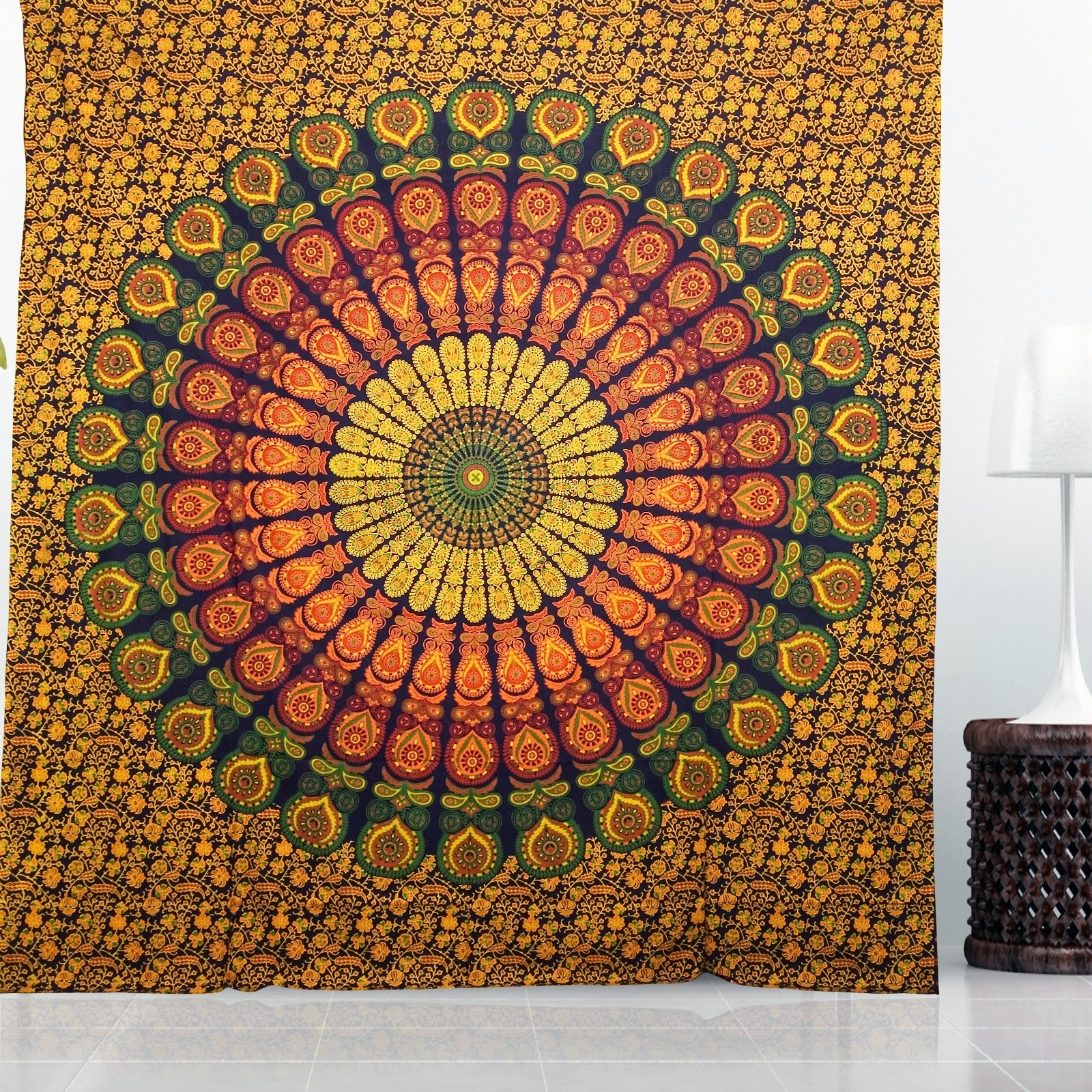 Hippie Tapestries, Mandala Tapestries, Queen Boho Tapestries, Wall Regarding Best And Newest Indian Fabric Wall Art (View 6 of 15)