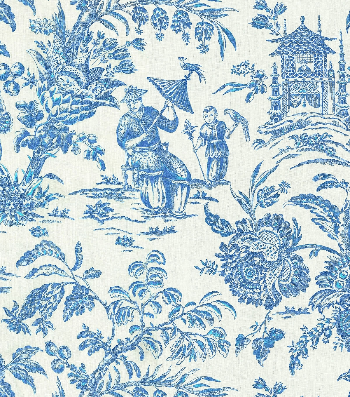 Home Decor Print Fabric Williamsburg Asian Arcadia Sapphire | Joann Regarding 2018 Asian Fabric Wall Art (View 7 of 15)