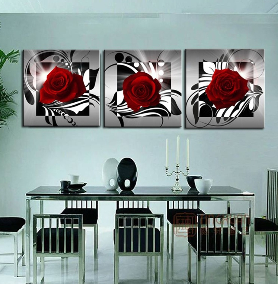 Home Decoration 3 Piece Canvas Wall Pictures Print Art Oil With Regard To Most Popular Red Flowers Canvas Wall Art (View 7 of 15)