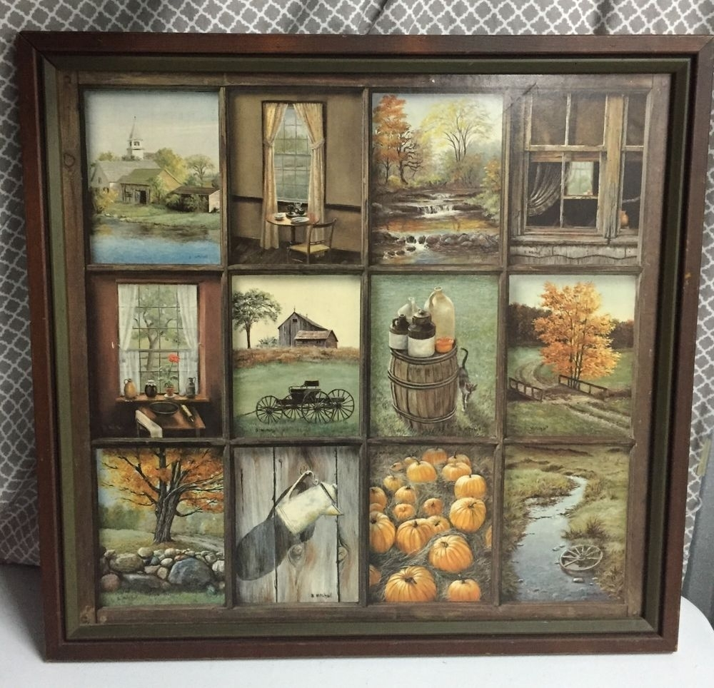Home Interior B Mitchell Fall Harvest Vintage Wood Framed Print In Most Recently Released Framed Country Art Prints (Gallery 12 of 15)