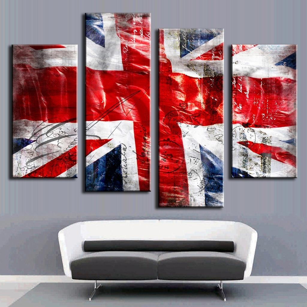 Hot 4 Pcs/set Combined Wall Art Painting Print On Canvas Red Blue Inside Current Union Jack Canvas Wall Art (View 4 of 15)