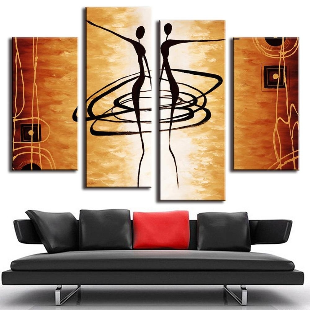 Hot 4 Pcs/set Modern Abstract Figures Painting Printed On Canvas Inside Most Recently Released Dance Canvas Wall Art (Gallery 5 of 15)