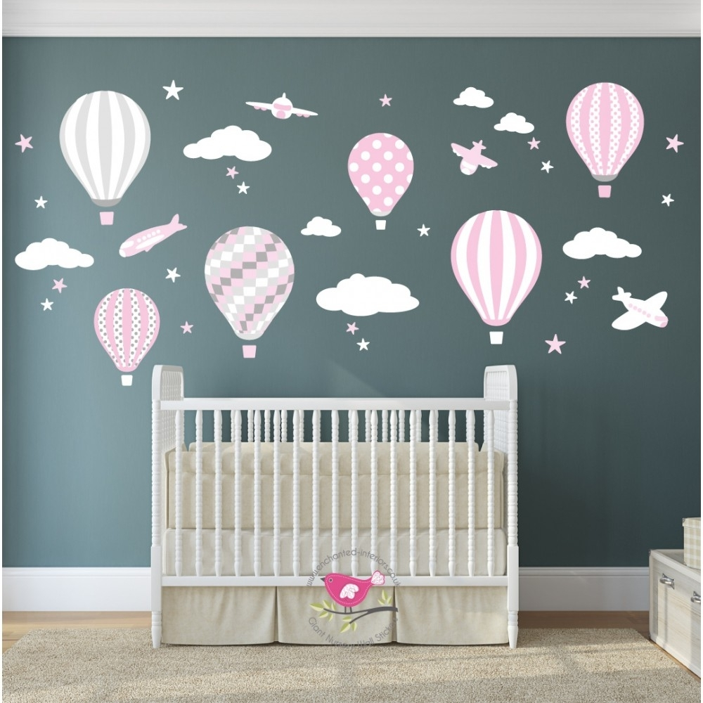 Hot Air Balloon & Jets Wall Stickers Baby Pink, Grey, White Intended For Best And Newest Baby Nursery Fabric Wall Art (Gallery 15 of 15)
