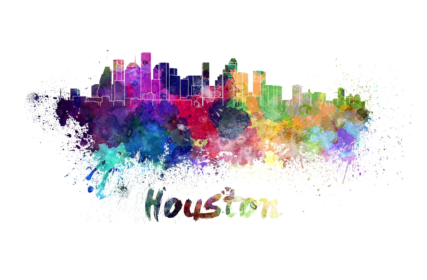 Houston Skyline Watercolor Canvas, Houston Canvas Print, Houston With Regard To Recent Houston Canvas Wall Art (View 5 of 15)