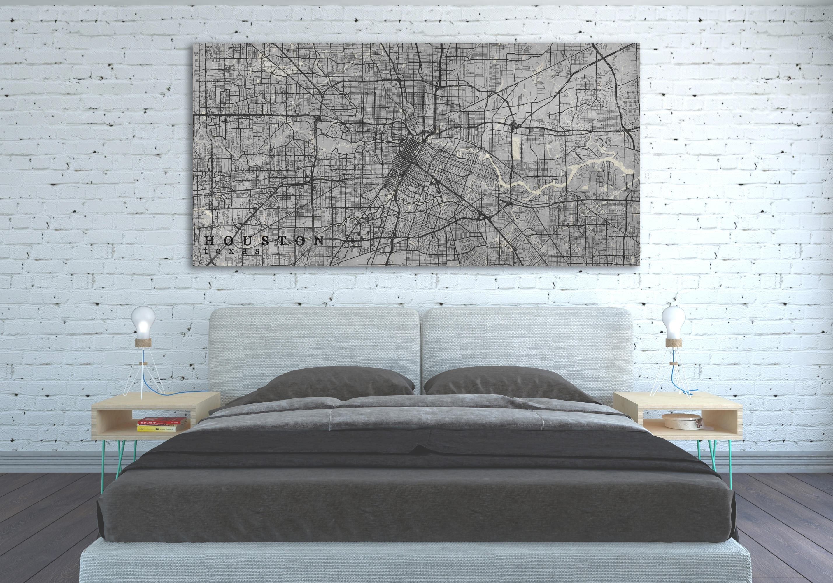 Houston Tx Canvas Print Houston Texas Tx Vintage Map City Poster Intended For 2017 Houston Canvas Wall Art (View 11 of 15)
