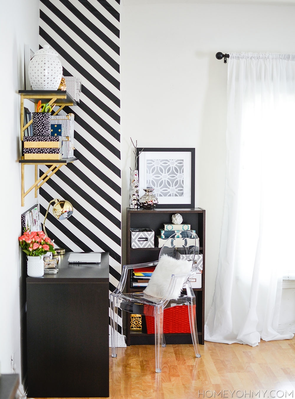 How To Create A Striped Accent Wall Without Paint – With Newest Stripe Wall Accents (View 14 of 15)